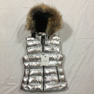 Women's Moncler Fox Fur  ZIPPER Hoodie Silver Vest
